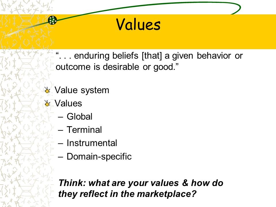 Values . . . enduring beliefs [that] a given behavior or outcome is desirable or good. Value system.